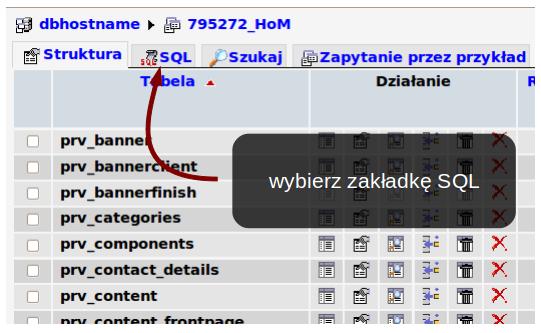 Zakładka SQL
